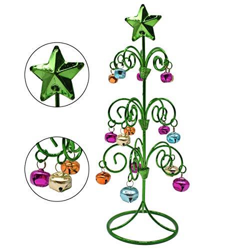 Liwein Decorazioni per L'Albero di Natale da Tavolo Campana in Ferro Battuto Mini Albero Natale Metallo Decorazione da Scrivania per la Casa Capodanno Xmas (Verde)