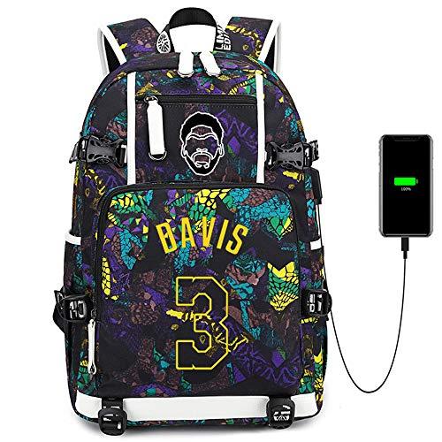 Lorh's store Jugador de Baloncesto Estrella Anthony Davis Mochila multifunción Estudiante de Viaje Mochila para fanáticos para Hombres Mujeres (Estilo 4)