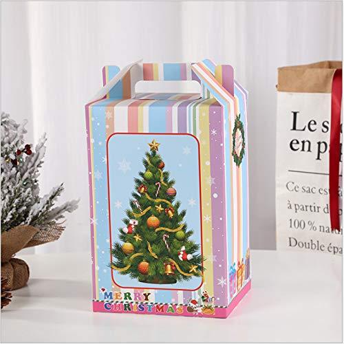 Yoshotech Bolsa de regalo para estudiantes de manzana, caja de regalo con ventana abierta, bolsa de regalo, tamaño pequeño, 18 x 13 x 25 cm, modelo I, maleta de árbol de Navidad