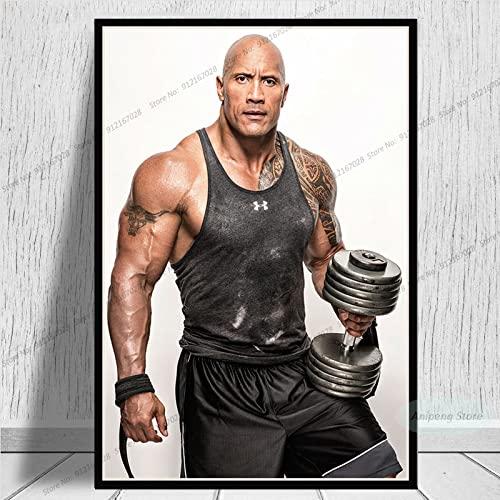 meishaonv The Rock Dwayne Johnson Movie Actor Fitness Músculo póster e Impresiones Lienzo Pintura Cuadro de Arte de Pared A1205 50 × 70CM sin Marco