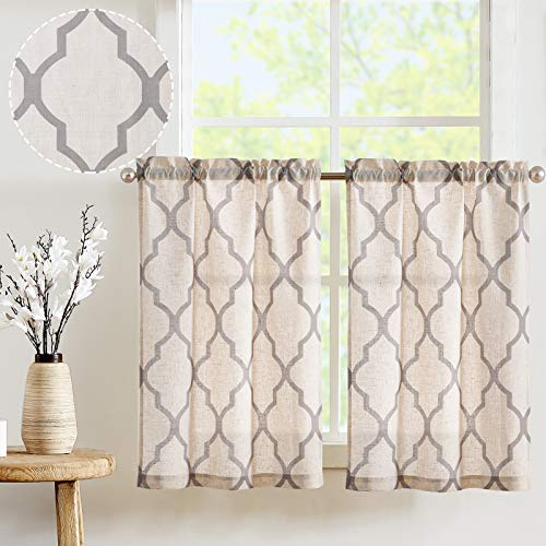 "JINCHAN Kitchen Curtains Linen Short Window Curtains 36 Length Moroccan Design Cafe Curtains for Window Treatment Set 2 Panels 26"" W x 36"" L Grey"