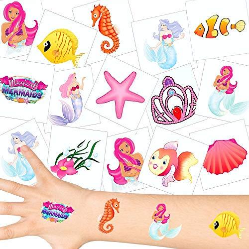 German Trendseller® - Meerjungfrauen Tattoos Set ┃ NEU ┃ Kindergeburtstag ┃ Mitgebsel ┃ Party Tattoos ┃ 12 Tattoos