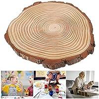 天然木のスライス、樹皮付き、未完成の木材ディスク、(29*26, blue)