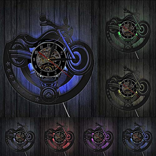 Reloj de Pared Reloj de Pared de Vinilo de Motocicleta, Garaje, diseño...