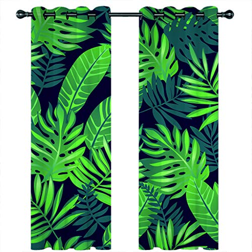 Leeypltm 1 set 2 Panels -3D Blackout Curtains, Curtain For Eyelet, Pleat Curtains, Tent for green plants2 x W 46 x D 72inch,Apply to: bedroom/living room/balcony, etc.