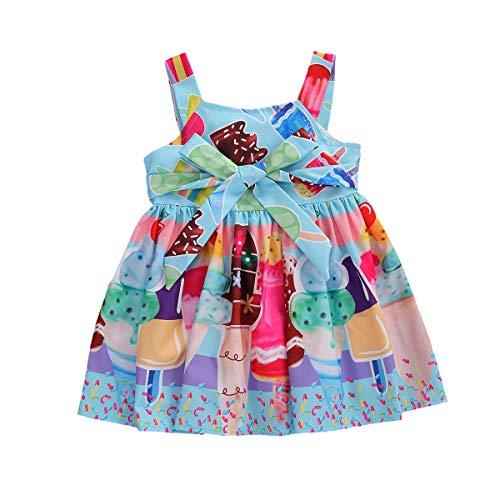 Vestido para Niña Bebé Recién Nacido de Verano Vestido de Niña sin Mangas Estampado Helado Multicolores 0-4 Años para Verano y Fiesta (Helado, 1-2 Años)