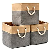 EZOWare Pack de 3 Bacs de Rangement, Cubes de Rangement pliants en Tissu Toile Tweed...