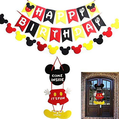 HChiy Mickey Party Supplies Kits, Mickey Happy Birthday Flags, Garland and Welcome Hanger Door Sign for Baby Kids Shower Mouse ears Favors Theme Decoration