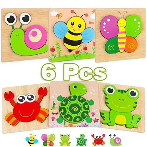 Aiduy Houten puzzels voor 1 2 3-jarigen, 6-pack houten legpuzzels voor 1 2-jarigen, Peuter puzzelspel Educatief speelgoed voor 1 2-jarige jongensmeisjes Kinderen