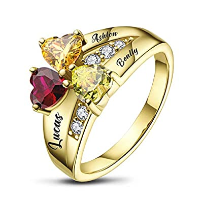 BAUMA Mothers Ring Personalized Sterling Silver Mothers Rings Family Ring with 3 Simulated Birthstones for Grandmother Mother Meaningful Anniversary Rings (Gold, 10)