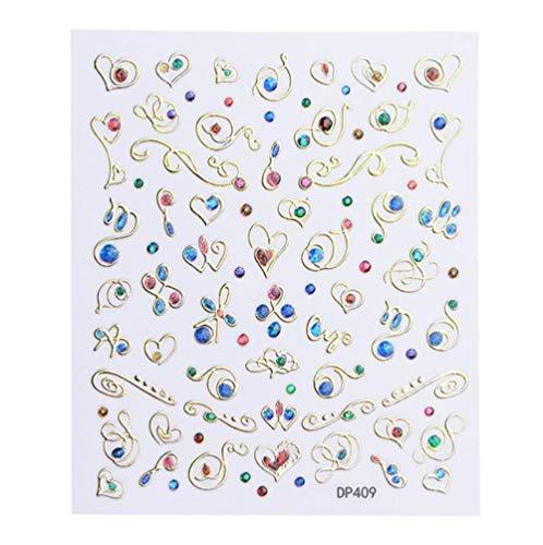 JSIYU Stickers Ongle 3D Relief Fleur Ongles Autocollant Ligne géométrique Lune Bronzage Curseur manucure Ongles Art décoration-Y03