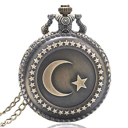 MOLINB Taschenuhr Antike Bronze Türkei Flagge Mond Stern Muster Halskette Taschenuhr Quarz Vintage Steampunk White Face Analog Geschenk Unisex