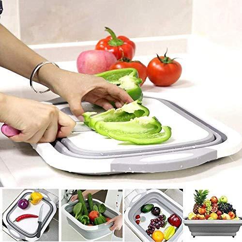 Collapsible Kitchen Cutting Chopping Board Dish Sink Tub Storage Basket with Draining Plug Folding Cutting Board Washing Bowl Fruit Vegetable Basket Vegetable Chopping Board