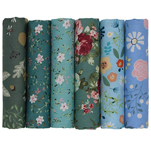 aufodara 6 Stück Baumwollstoff Meterware Stoff je 50 x 50cm, Reiner Baumwolle, Stoffe zum Nähen, Patchwork Stoffpaket zum Quilten DIY Basteln Handwerken, Modischen Mustern (U-B907)
