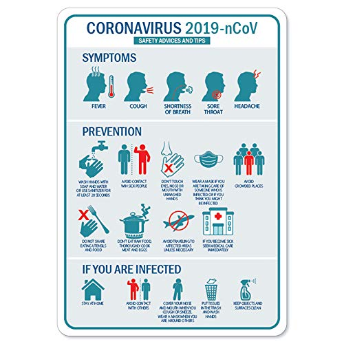 Coronavirus Notice Sign - Safety Advice and Tips | Peel and Stick Wall Graphic | Protect Your Business, Class Room, Office & Interior Surroundings | Made in The USA