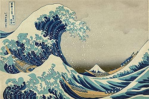 Rompecabezas Niños Y Adultos 300 Piezas, Maestro Japonés Hokusai Fuji La Gran Ola De Kanagawa
