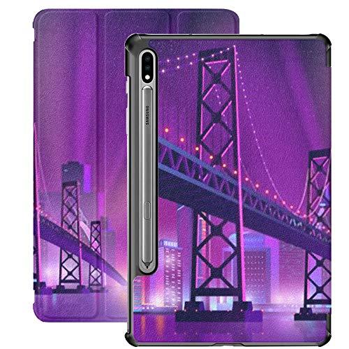Funda para Samsung Galaxy S7 Plus Modern Metropolis Night Cityscape Neon Colors Funda de Piel sintética para Samsung Galaxy Tab S7 Plus de 12,4 Pulgadas 2020, Funda para Samsung Galaxy Tab S7 Plus c