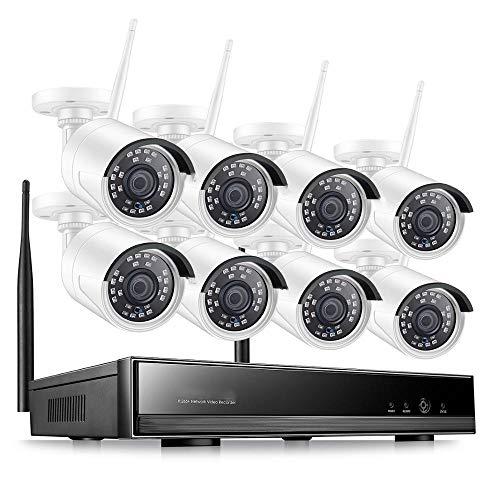 Kit Camaras Seguridad Sistema CCTV De 8 Canales Inalámbrico 1080P HD Nvr 8Pcs 2 0 MP IR Al Aire Libre Impermeable P2P WiFi Sistema De Cámara De Segu
