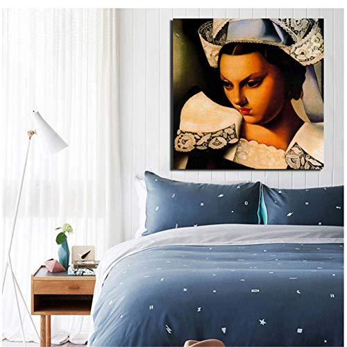 nr Tamara de Lempicka Cuadros Wandkunst Leinwand Poster Gemälde Wandbild für Wohnzimmer Home Decoration -60x60cm No Frame