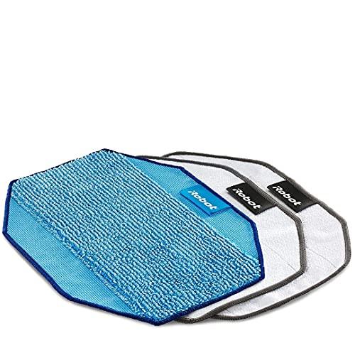 iRobot Originalteile – Gemischte Mikrofasertücher für die Serie Braava 300 – Weiß (2 Stück) und Blau (1 Stück) – Wiederverwendbar – Kompatibel mit der Serie Braava 300