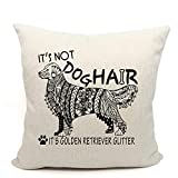 It's Not Dog Hair It's Golden Retriever Glitter Throw Pillow Case, Dog Lover Gifts, Golden Mom Gifts, Funny Golden Retriever Decor, 18 x 18 Bohemian style Inch Linen Cushion Cover for Sofa Couch Bed