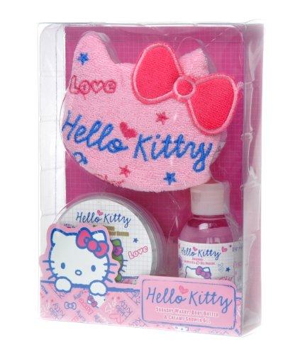 Hello Kitty Scribble Coffret Eponge Beurre Corps Pot 50 ml + Gel Douche 50 ml