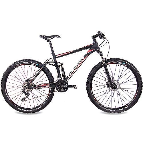 CHRISSON 29 Zoll Mountainbike Fully - Hitter FSF schwarz rot - Vollfederung Mountain Bike mit 30 Gang Shimano Deore Kettenschaltung - MTB Fahrrad für Herren und Damen mit Rock Shox Federgabel - 2