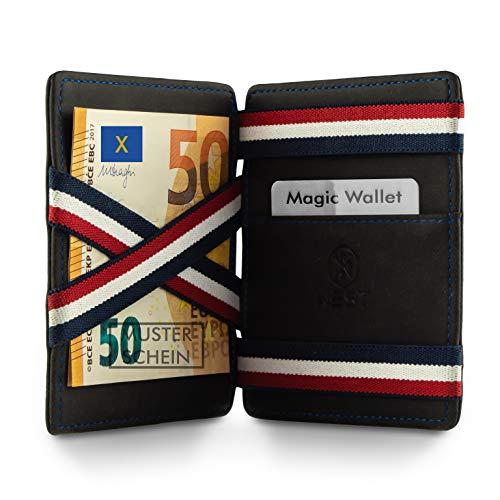 WEST - Magic Wallet (Schwarz-Blau) - Das ORIGINAL (kleines Münzfach) - inklusive Edler Geschenkbox - Geldbeutel mit Münzfach - Der perfekte Begleiter für unterwegs - RFID Datenschutz