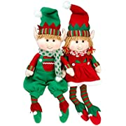 """SCS Direct Elf Plush Christmas Stuffed Toys- 12"""" Boy and Girl Elves (Set of 2) Holiday Plush Characters"""