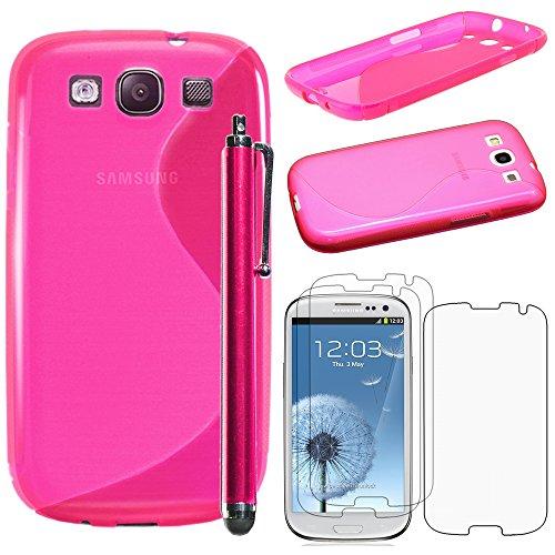 ebestStar - Cover Compatibile con Samsung S3 Galaxy i9300 i9305 Custodia Protezione S-Line Silicone Gel TPU Morbida e Sottile +Penna +3 Pellicole plastica, Rosa [Apparecchio:136.6x70.8x8.6mm 4.8']