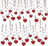 HOWAF 30 Piezas Corazones Rojos San Valentín Colgar decoración de Remolino Adornos de espirales Techo Serpentinas para Bodas Fiesta, Compromiso, San Valentín decoración Suministros