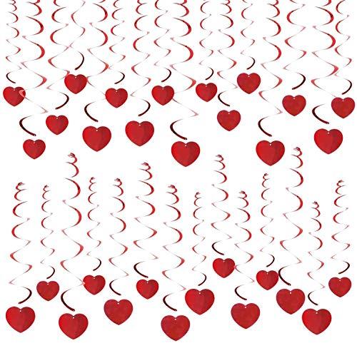 HOWAF 30Pcs Cuore a Spirale Pendenti Cuore Ghirlanda da Appendere per Festa San Valentino Decorazioni, Matrimonio, Anniversario