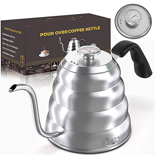 XIRGS Gießen Sie über Kaffeekessel mit Thermometer, 1.2L Elektrisch Schwanenhals Wasserkocher Edelstahl mit 3 Schichten Anti-Rost-Design für die Meisten Gas Herdplatten
