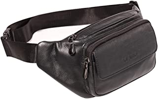 Mens Waist Bag Pouch Leather Tactical Waist Pack Portable Fanny Pack Army Waist Bag Military Waist Pack