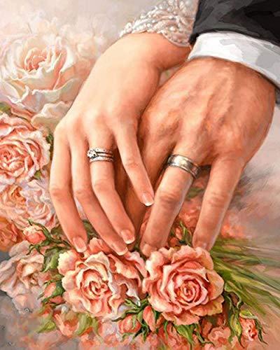 Pintura de diamante 5D pintura DIY anillo de pareja de diamantes redondos mano 35x40 cm bordado costura artesanía decoración kit de punto de cruz regalo