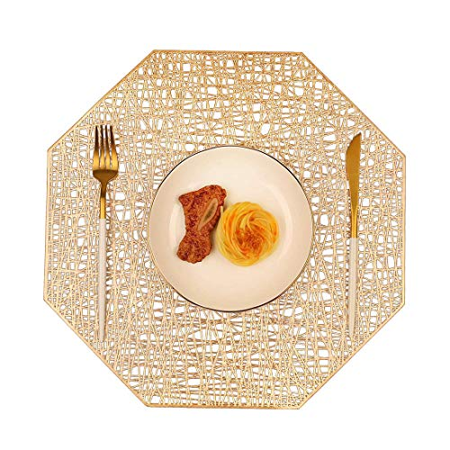 MANGATA Tischset Set, Schönes Vinyl Platzsets rutschfest Hitzebeständig Platzdeckchen for Küche, Zuhause, Speisetisch, Weihnachten (Gold- B, Set of 6)