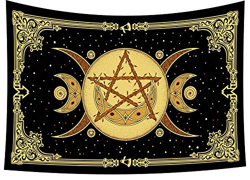 COR's Triple Moon Symbol Tapestry Goddess Celtic Wicca Wall Hanging The Pentacle Decor Horned God Mandala Wall Hanging