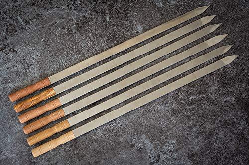 JD Europe Adana Schaschlikspieße mit Holzgriffen, Edelstahl, flach, Breite 57,5 cm, Breite 2 cm, Dicke 2 mm, 6 Stück