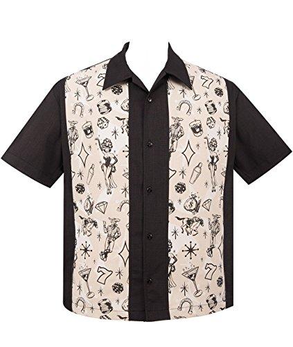 STEADY CLOTHING Hombre Vintage Bowling Camisa–Vegas Lights Panel Retro Bolos Camiseta