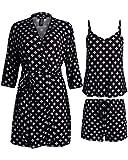 Rene Rofe Women's Sleepwear 3 Piece Pajama Set – Robe, Cami, and Shorts – Lightweight Soft Stretch Knit Fabric, Size Medium, Black/Floral