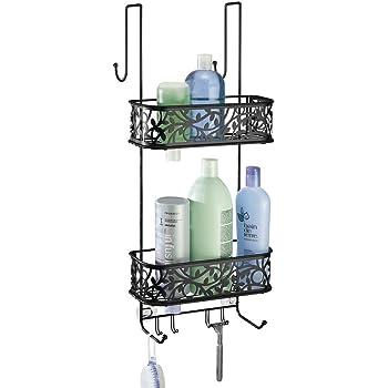 mDesign Estantería de ducha para colgar de la mampara – Práctica estantería de baño sin taladro – Repisa