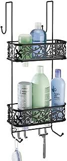mDesign Metal Over Door Bathroom Tub & Shower Caddy, Hanging Storage Organizer Center - Holds Shampoo, Conditioner, Body Wash, Razor, Dry Towel - 2 Baskets, 8 Hooks, Floral Design - Matte Black