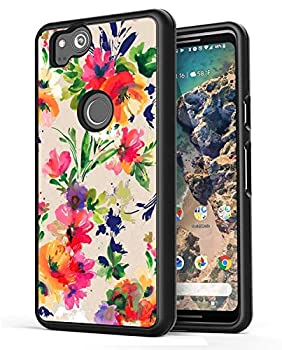Art Case for Google Pixel 2 XL,Gifun Anti-Slide Soft Black TPU Protective Case Cover Compatible with Google Pixel 2 XL 2017 Release - Classic Flowers Art