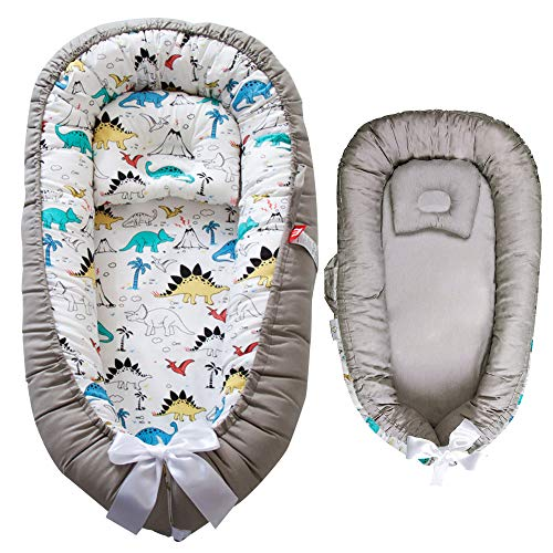 Baby Lounger Nest - 100% Cotton Portable Newborn Sleeper - Soft, Breathable, Comfortable, Machine Washable Cushion - Cosleeper for Baby in Bed - Infant Lounger with Double-Sided Pillow (Dinoland)