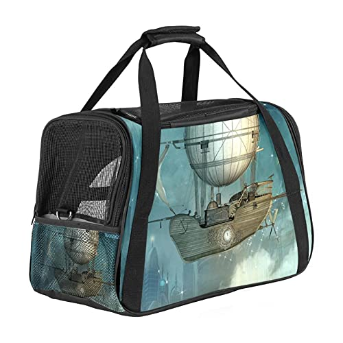 MEITD Pet Carrier Cat Carrier Pet Travel Carrier for Cats, Small dogs, Kittens or Puppies, Collapsible,Durable,Airline Approved Retro boat