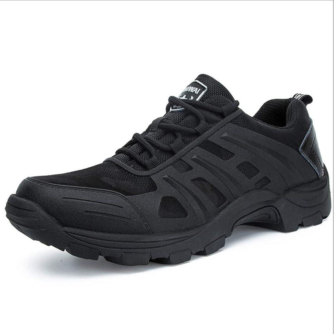 グレートオーク眠り突き出す屋外のウォーキングシューズ通気性のハイキングシューズが滑り止めの低いブーツを着用するのを助けるために低いメンズ屋外Lサイズ (Color : Black, Size : 43)