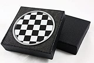 for Mini Cooper S Countryman Paceman Black White Checkered Front Grill Emblem Badge