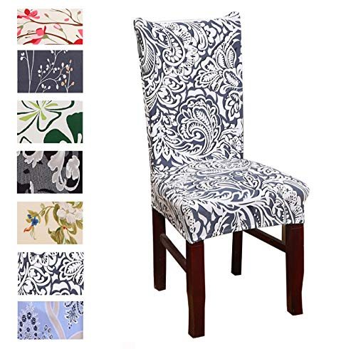 Argstar 6 Pack Dining Chair Covers, Green Leaves Armless Chair Slipcover for Dining Room, Spandex Kitchen Parson Chair Protector Cover, Removable & Washable, Four-Leaf Clover