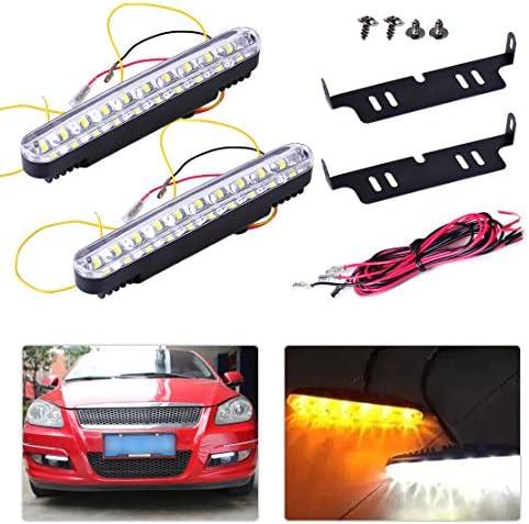2pcs White//Amber Car DRL LED Daytime Running Light Driving Turn Signal Universal
