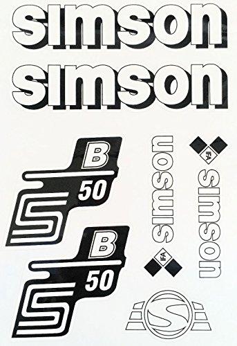 Aufkleber-Set für Simson S50B Tank und Seitendeckel Silber, Rot, Blau, Weiß (Weiß)